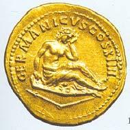 23 (32) RIC II, 127. Domitian, Aureus, Rom 88/89 n. Chr., Gewicht: 7,460 g. Vs: Kopf des Domitian mit Lorbeerkranz. Rs: Germania auf Schild, GERMANICVS COS XIIII