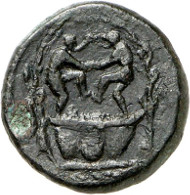 199: Roman Imperial Times. Tessera, ca. 22-37. Two bearded men stomp grapes in a winepress. Cohen VIII, 266, 8. Buttrey -. Unique subject and very rare. Fine dark brown patina, good very fine. Estimate: 1,500 euros.