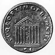 25 (34) RIC II, 575. Traian, Sestertius, Rom 104-111 n. Chr., Gewicht: 27,30. Vs: Portrait mit Lorbeerkranz. Rs: Reich verzierte Tempelfassade.