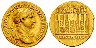 Lot 45: TRAIANUS, 98-117. Aureus, Rome, 112-114. RIC 257. Rare. Good very fine. Estimate: 5,000,- euros.