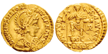 Lot 93: MAIORIANUS, 457-461. Solidus, Arles, 458-461. RIC 2631. Extremely rare. Nearly extremely fine. Estimate: 10,000,- euros.