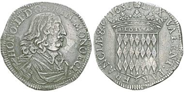 Lot 124: MONACO. Honoré II, 1604-1662. Écu 1653. Gadoury MC30. Good very fine / extremely fine. Estimate: 2,500,- euros.