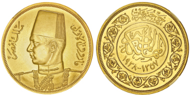 Lot 245: EGYPT. Farouk, 1936-1952. 500 piaster 1357 AH (= 1938). Graded NGC PF62. Proof. Estimate: 3,000,- euros.