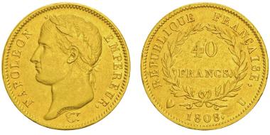 Lot 535: ITALY. Subalpine Republic. Napoleon. 1808 40 Francs, Turin. Gadoury 1083. Only 346 specimens struck. Nearly extremely fine. Estimate: 10,000,- euros.