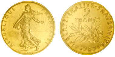 Lot 450: FRANCE. 5th Republic, 1959-present. Gold pattern for 1959 2 francs seeder. Only 4 specimens struck! Graded NGC MS64. Estimate: 15,000,- euros.