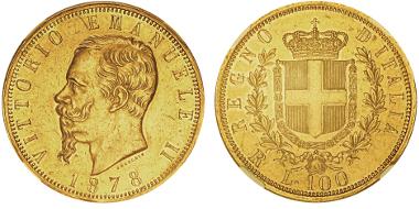 Lot 695: ITALY. Vittorio Emanuele II, 1861-1878. 100 lire, Rome, 1871R. MIR 1076c. Only 661 specimens struck. Graded NGC AU58. Estimate: 18,000,- euros.
