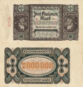 Los 48: Geldscheine der Inflation 1919-1924, 2 Millionen Mark 23.7.1923. Wertangabe