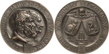 Los 987: Bronzemedaille 1911. Auf die Goldene Hochzeit von Prof. Dr. Victor und Elisabeth Böhmer. Schätzpreis: 750 Euro.