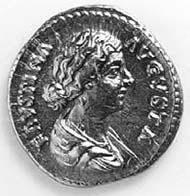 32 (42) RIC III M. Aurelius 716 Faustina II., Aureus, Rom 161-176 n. Chr., Gewicht: 7,250 g. Vs: Gewandbüste der Kaiserin. Rs: Sitzende Salus mit Schlange und Altar.