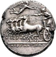 Morgantina. Tetradrachm ca 340 B.C. Rizzo Tf. 60 , 6. Extremely rare. Extremely fine/very fine.