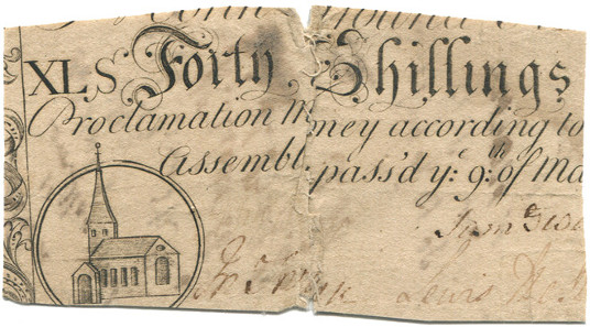 British Colony Carolina, colonial currency, 40 shillings, March 9, 1754 (Pick S2158).