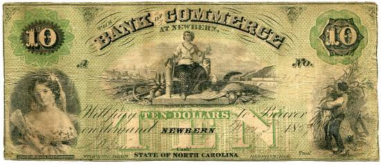 Bank of Commerce at Newbern. 10 dollars, November 3, 1839 (Haxby NC-40/G4b).