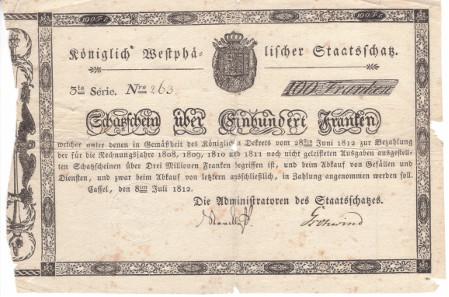 Paper money, Germany. Westphalia, Kingdom Schatzschein, 100 Franks, 8.7.1812, Kassel. Unicum. III.