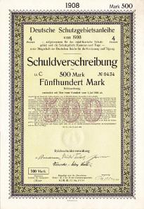 Eine Deutsche Schutzgebietsanleihe von 1908.
