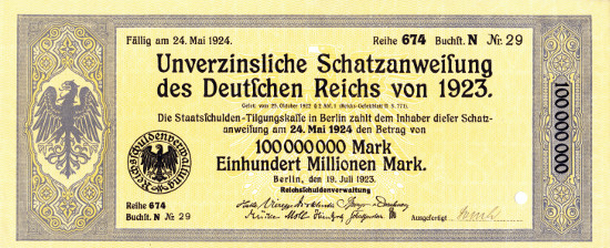 At the height of hyperinflation: a non-interest-bearing treasury bill of the German Reich with a value 100 Mio. Mark in 1923.