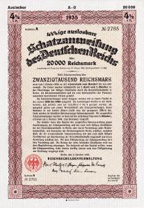 Treasury bill of the Deutsche Reich 1935.