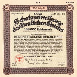 Treasury Bill / Schatzanweisung Deutsches Reich 1938.