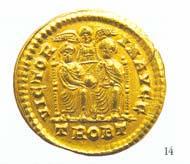 43 (63) RIC IX, 17 g. Gratianus, Solidus, Trier 375-378 n. Chr., Gewicht: 4,468 g. Vs: Büste Gratians mit Diadem. Rs: Zwei Kaiser mit Globus, zwischen ihnen Victoria.