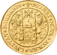 Sigismund III Vasa 1587-1632. 10 ducats (portugaleser) 1592, Riga. Very fine-extremely fine. Estimate: 30,000 euros. This coin will be offered as lot 5239 at the Auction 84 of Leipziger Münzhandlung und Auktion Heidrun Höhn on October 24, 2015.