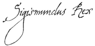 Signature of Sigismund III as king (REX). Source: Wikipedia.