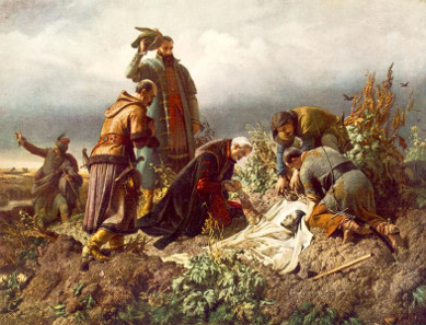 Discovery of the Body of King Louis the Second, painting by Bertalan Székely, 1860.