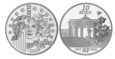 Best Contemporary Event: France - 10 Euro, silver, Fall of Berlin Wall