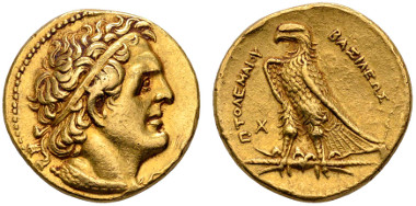 Aegyptus, Ptolemaios II. Philadelphos, 285-246 v. Chr., Pentadrachme, Alexandria, selten, ex Hess/Divo. Ausruf: 7.500 Euro.