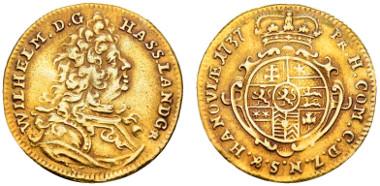 Hanau-Münzenberg, Wilhelm VIII., 1730/1751-1760, Dukat, 1737, Hanau, von großer Seltenheit. Ausruf: 850 Euro.
