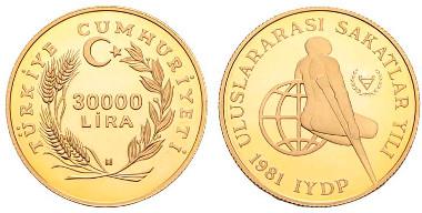 Türkei, Republik, 30.000 Lira, 1981, London, Internationales Jahr der Behinderten, DICKABSCHLAG-Piedfort, Polierte Platte, von großer Seltenheit. Ausruf: 10.000 Euro.