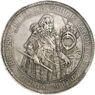 Lot 115: BRUNSWICK-LÜNEBURG-CELLE. Christian, Bishop of Minden, 1611-1633. Löser of 10 reichsthaler 1625, Clausthal(?). Extremely rare. Extremely fine. Estimate: 50,000,- GBP.