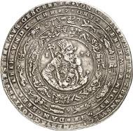 Lot 2: BRUNSWICK-WOLFENBÜTTEL. Julius, 1568-1589. Löser of 5 reichsthaler 1574, Heinrichstadt (Wolfenbüttel), struck in the weight of 4 1/2 reichsthaler. Extremely rare. Very fine. Estimate: 20,000,- GBP.