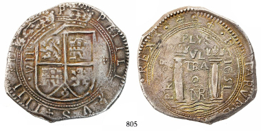 Lot 805: Bogota, Colombia, cob 8 reales, 1651, assayer PoRMOS, lions and castles transposed, rare, finest known example for the date and type. Restrepo-M46.6; S-B7; KM-7.1; CT-527.