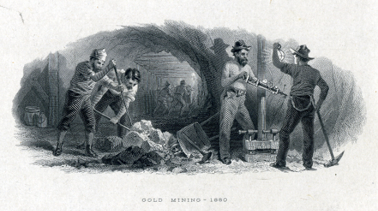 1880 gold mining vignette by the American Bank Note Co., courtesy of Mark D. Tomasko.