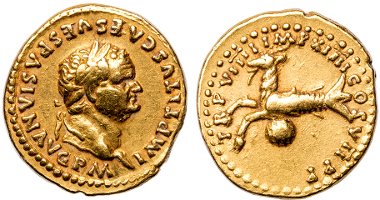 Gold coin of Titus, from a rare 12 Caesars collection, courtesy of Thomas Tesoriero. Photograph: Alex Marincescu.