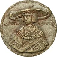Das älteste Porträt Christophs findet sich auf einer Medaille aus dem Jahr 1524. Wie die Inschrift mitteilt, war er damals IN DEM NEV(N)DEN IAR, also acht Jahre alt (Stuttgart Landesmuseum Württemberg, Inv. MK 6230, Foto: Landesmuseum Württemberg, Adolar Wiedemann).