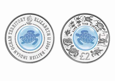 Most Innovative: British Indian Ocean Territory - 2 Pounds, silver-crystal, Life of the Sea Turtle
