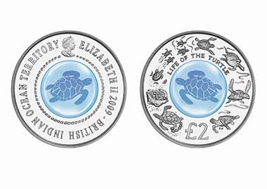Innovativste Münze: Britisches Territorium im Indischen Ozean - 2 Pounds, Silber-Kristall, Leben der Seeschildkröte
