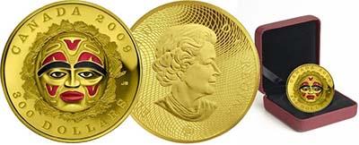 Most Artistic: Canada - 300 Dollars, gold, Native American Summer Moon Mask
