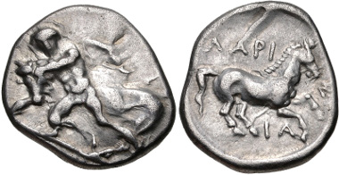 Lot 59: THESSALY, Larissa. Circa 420-400 BC. Drachm. Lorber, Thessalian 60; BCD Thessaly II 371.1 (same obv. die). VF. From the BCD Collection. Estimate: $150.