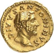 Nr. 142: ANTONINUS PIUS, 138-161. Aureus. Consecratio unter Marcus Aurelius. Rv. CONSECRATIO Scheiterhaufen. RIC 435. Vorzüglich. Taxe: 5.000,- Euro.