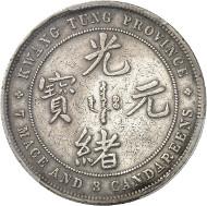 Nr. 1135: CHINA. Kwangtung. Dollar o. J. (1889). Dav. 181. Äußerst selten. Kleiner Randfehler, sehr schön. Taxe: 30.000,- Euro.