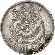 Lot 1135: CHINA. Kwangtung. Dollar n. d. (1889). Dav. 181. Extremely rare. Small rim nick, very fine. Estimate: 30,000,- euros.