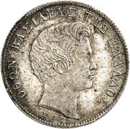 Lot 585: GREECE. Otto of Bavaria, 1832-1862. 1/4 drachm 1845, Athens. Divo 16c. Extremely rare. Extremely fine to FDC. Estimate: 3,000,- euros.