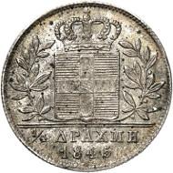 Nr. 585: GRIECHENLAND. Otto von Bayern, 1832-1862. 1/4 Drachme 1845, Athen. Divo 16c. Äußerst selten. Vorzüglich bis Stempelglanz. Taxe: 3.000,- Euro.