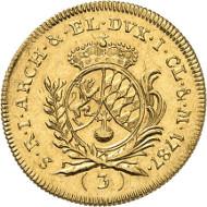 Nr. 4128: SAMMLUNG R.W. BAYERN. Karl Theodor, 1777-1799. 3 Dukaten 1787. Witt. 2322. Hahn 352. Vorzüglich. Taxe: 8.000,- Euro.