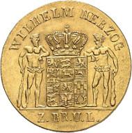 Nr. 1712: DEUTSCHLAND. Braunschweig-Wolfenbüttel. 10 Taler 1834, Variante ohne Stern. AKS 65 Anm. Sehr selten. Gutes vorzüglich. Taxe: 5.000,- Euro.