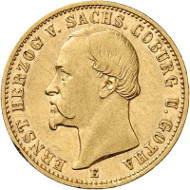 Lot 2838: GERMAN EMPIRE. Saxe-Coburg-Gotha. 20 mark 1872. J. 270. Rarest imperial gold coin type of all. Very fine / extremely fine. Estimate: 65,000,- euros.