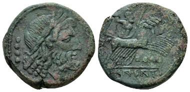 Campania, Calatia. Quadrans 216-211, Sambon 1058. Giard, op. cit., p. 258, 1. Historia Numorum 470 var. (pellets missing). Excessively rare. Extremely Fine. Starting Bid: £200.
