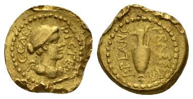 Julius Caesar and M. Munatius Plancus. Quinarius end 46-early 45, Bahrfeldt 22. Babelon Julia 20 and Munatia 3. C 32. Sydenham 1020. Sear Imperators 61. Woytek Arma et Nummi p. 558. RBW 1665. Crawford 475/2. Very rare. Good Very Fine. Starting Bid: £1,500.