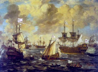 The Brandenburg navy on the open sea, painting by Lieve Verschuier, 1684.